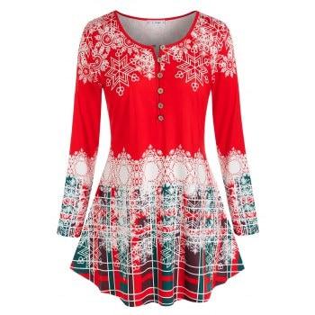 Plus Size Christmas Snowflake Long Sleeve Tunic Tee