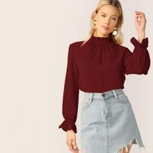 Solid Frill Trim Keyhole Back Top