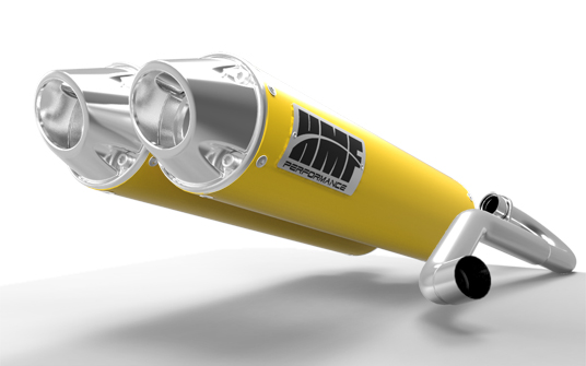 HMF Racing 16522696386 Dual 3/4 System Performance Series Yellow Exhaust Euro Polished Tips Outer Mount Can-Am Commander 800 14-15