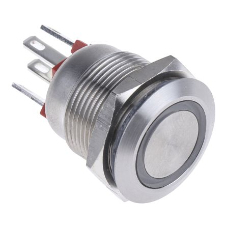 Bulgin Single Pole Single Throw (SPST) Momentary Push Button Switch, IP66, 19.2 (Dia.)mm, Panel Mount, 24V dc