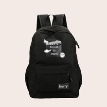 Kids Slogan Graphic Backpack