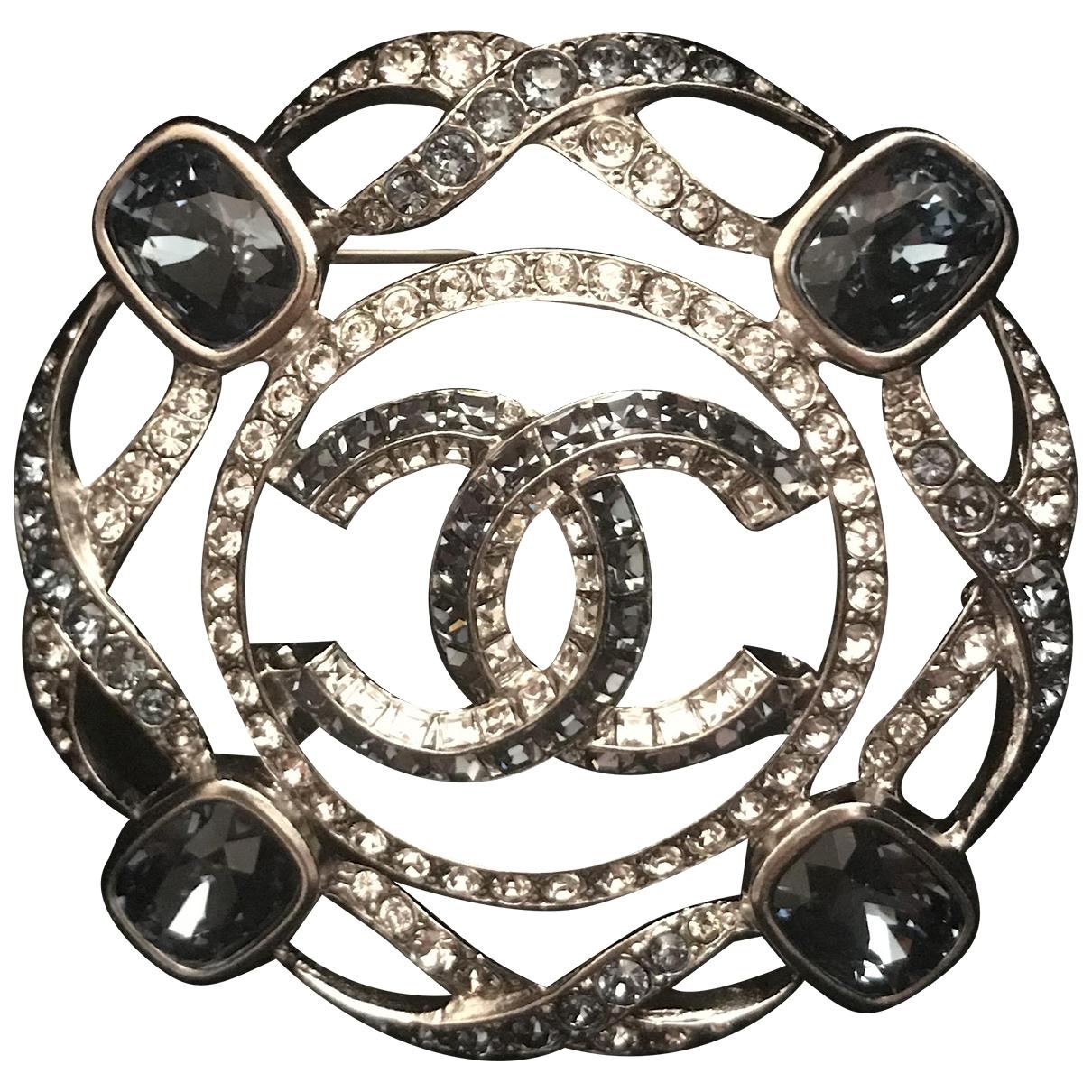 Chanel - Broche CC pour femme en metal - bleu