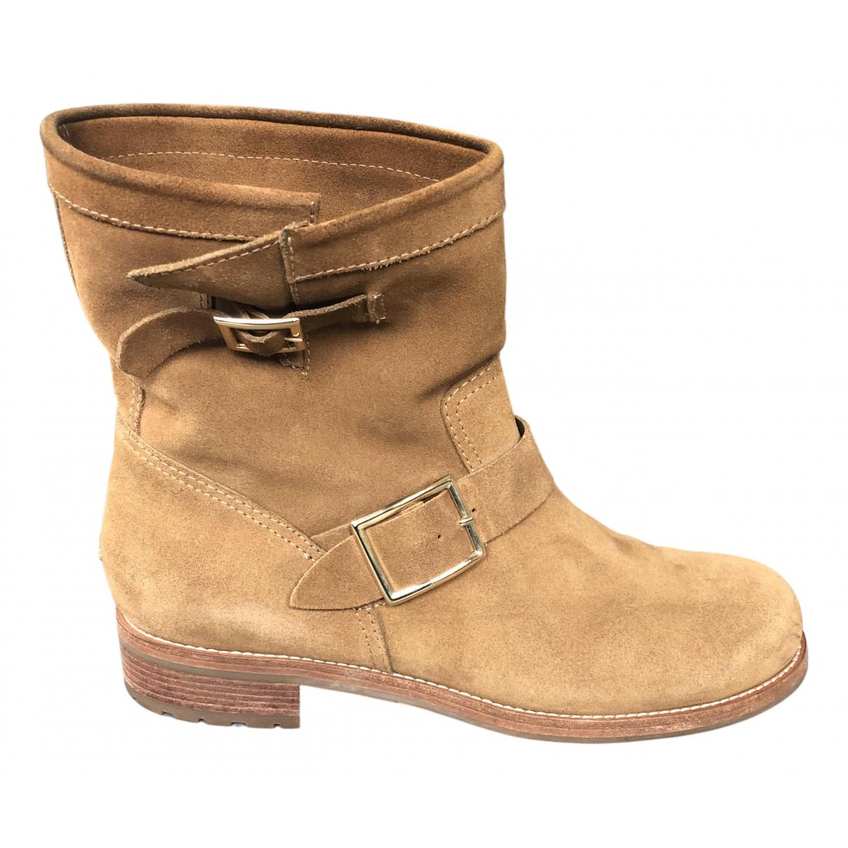 Jimmy Choo - Boots Youth pour femme en suede - camel