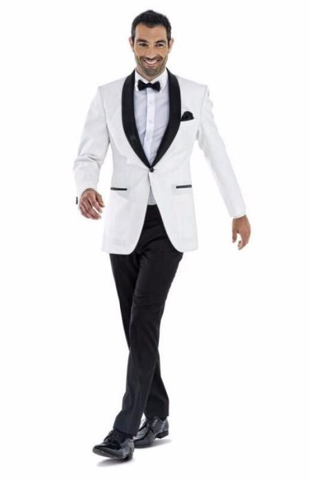 Men's 1 Button White Shawl Lapel Single Breasted Wedding Tuxedo Suit