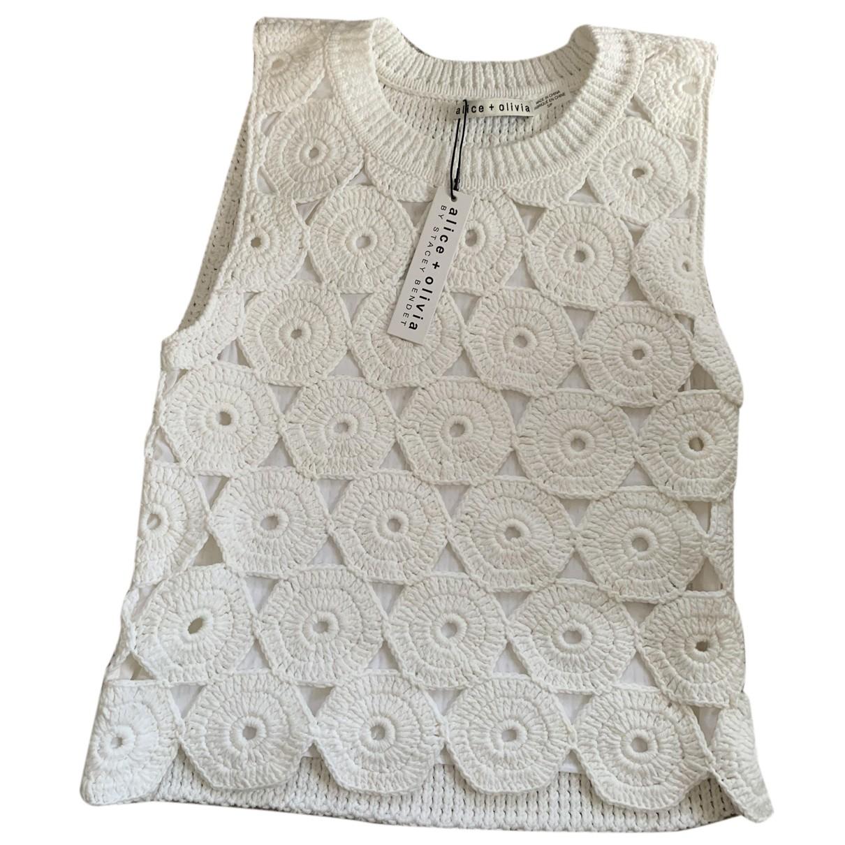 Alice & Olivia - Top   pour femme en coton - blanc