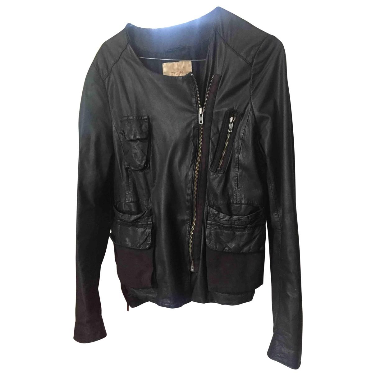Maje \N Black Leather jacket for Women 3 0-5