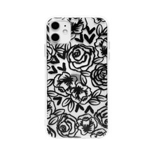 1pc Rose Print Clear iPhone Case