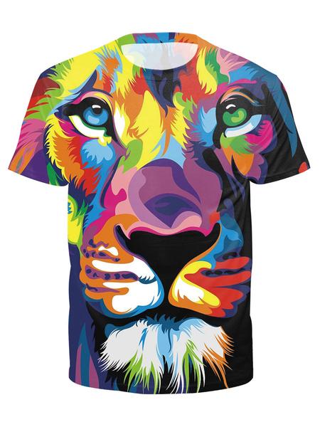 Milanoo Short Sleeve T Shirt Men Round Neck Printed Casual T Shirt