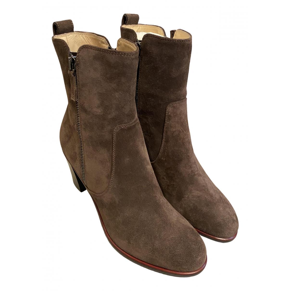 Longchamp \N Stiefel in  Braun Veloursleder
