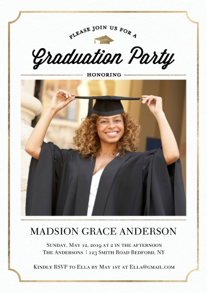Graduation Invitations 5x7 Cards, Premium Cardstock 120lb with Scalloped Corners, Card & Stationery -Grad Party Cap