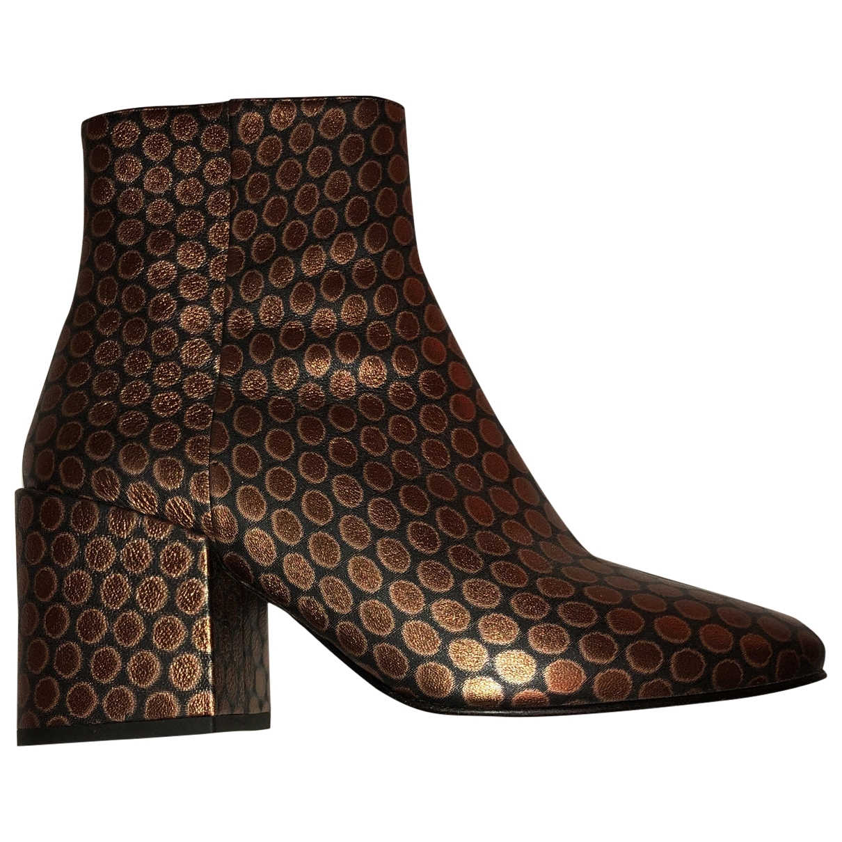 Dries Van Noten \N Metallic Leather Ankle boots for Women 38 EU