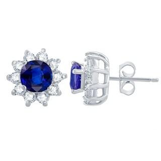Sterling Silver Blue Sapphire, White Topaz Flower Stud Earring (Blue - Sapphire - White)