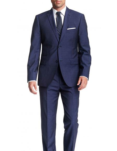 Mens Blue Check 2 Button Modern Fit Notch Lapel Wool Suit