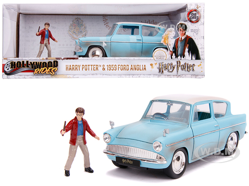 1959 Ford Anglia Light Blue (Weathered) with Harry Potter Diecast Figurine 1/24 Diecast Model Car by Jada
