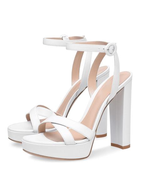 Milanoo Platform High Heel Sandals Womens Chunky Heels Open Toe Slingback Block Heel Sandals