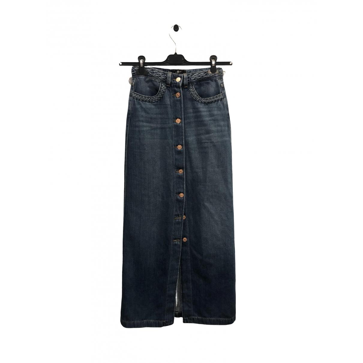 7 For All Mankind \N Blue Cotton - elasthane skirt for Women 34 FR