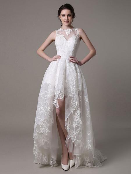 Milanoo Vestido de novia de encaje con escote transparente de cola asimetrica