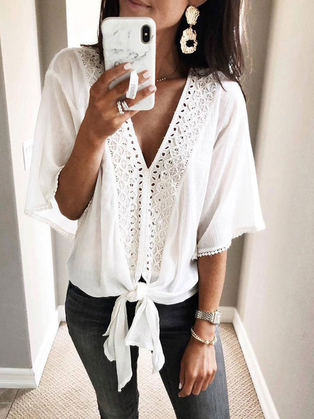Milanoo Blouse For Women White V-Neck Half Sleeves Knotted Casual Shirt