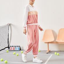 Sweatshirt mit O-Ring, halber Reissverschlussleiste und Farbblock & Jogginghose mit seitlichem Streifen Set