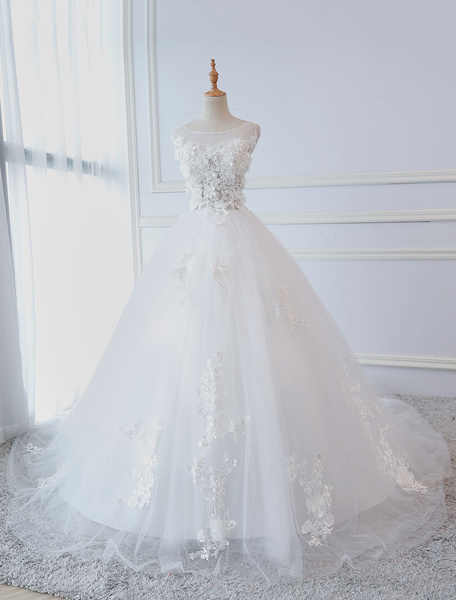 Milanoo Princess Wedding Dresses Ball Gowns Lace Flowers Applique Sleeveless Bridal  Gowns With Train