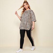Conjunto camiseta bajo curvo con estampado de leopardo con pantalones