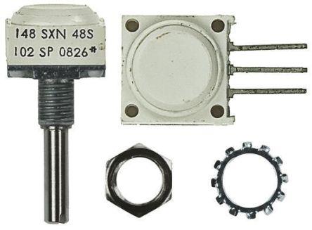 Vishay 2 Gang Rotary Conductive Plastic Potentiometer with an 6.35 mm Dia. Shaft - 10kΩ, ±10%, 0.5W Power Rating,