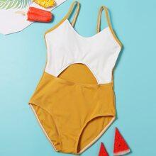 Bañador de niñas Cut-out Monocolor Amarillo