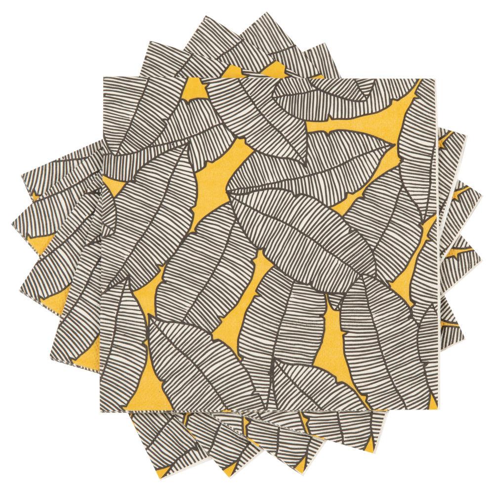 Papierservietten mit aufgedruckten Blattmotiven (x20)