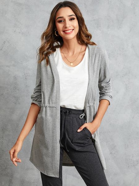 YOINS Grey Drawstring Waist Hooded Design Open Front Cardigan