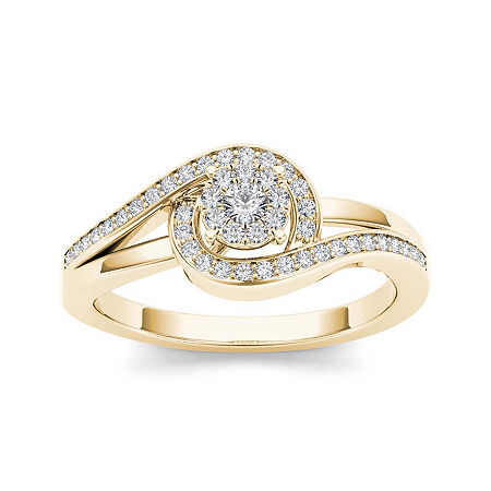 1/5 CT. T.W. Diamond Swirl 10K Yellow Gold Engagement Ring, 8 , No Color Family