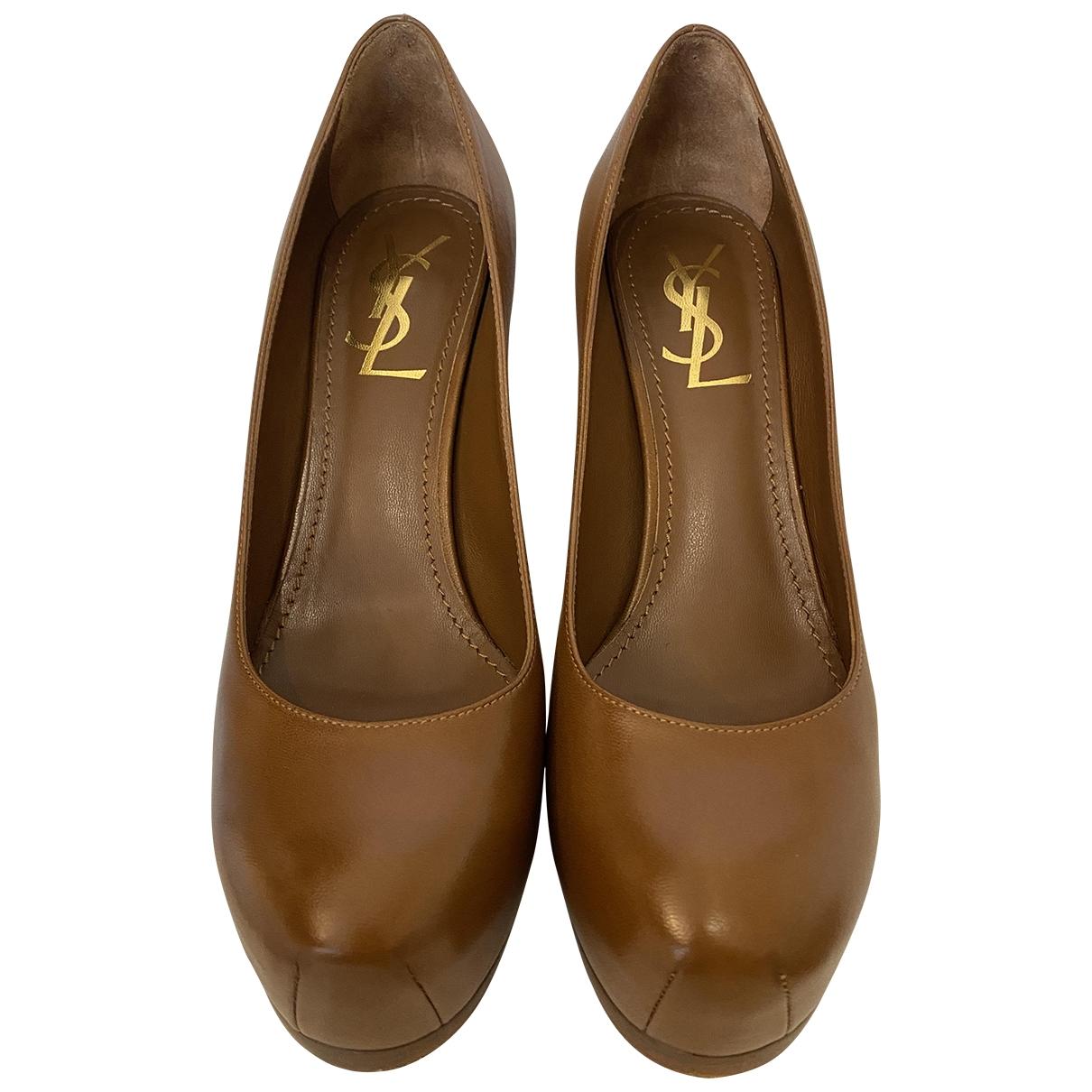 Yves Saint Laurent - Escarpins Trib Too pour femme en cuir - marron
