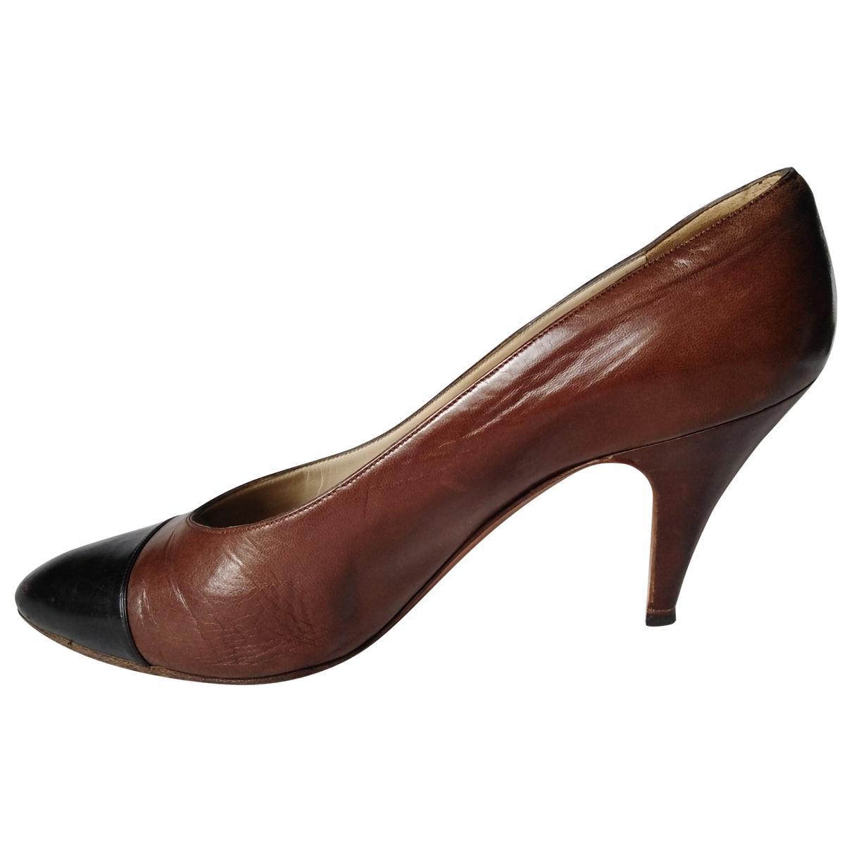 Chanel \N Brown Leather Heels for Women 38.5 EU