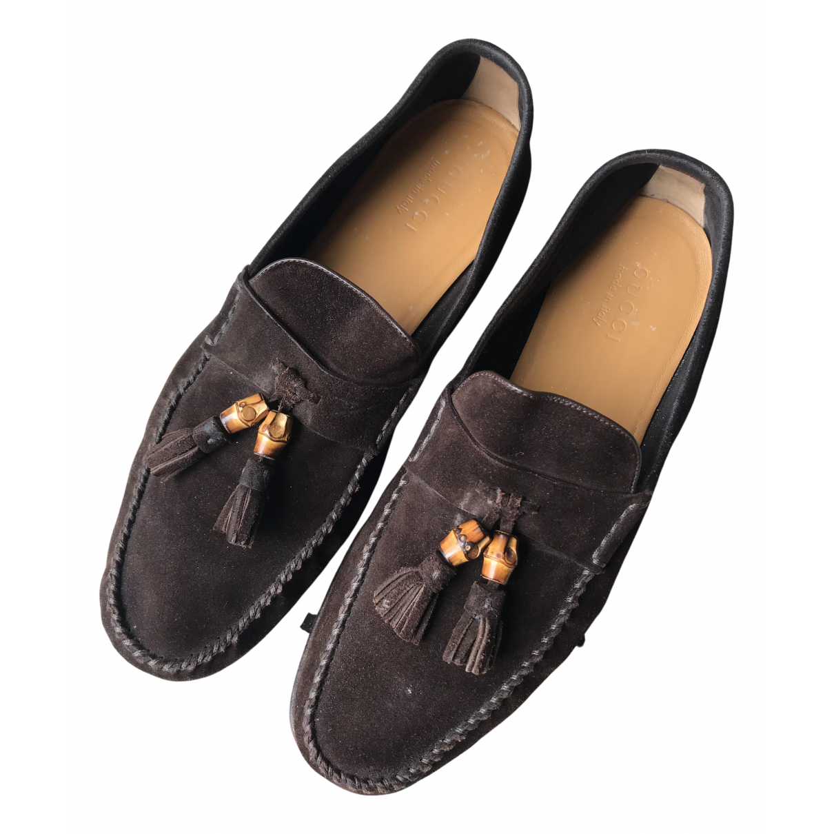 Gucci N Brown Suede Flats for Men 45 EU