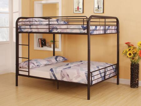 Bristol Collection 37433 Full Over Full Size Bunk Bed with Full-Length Guardrail  Reversible Front Ladder  Slat System Included and Metal Tube