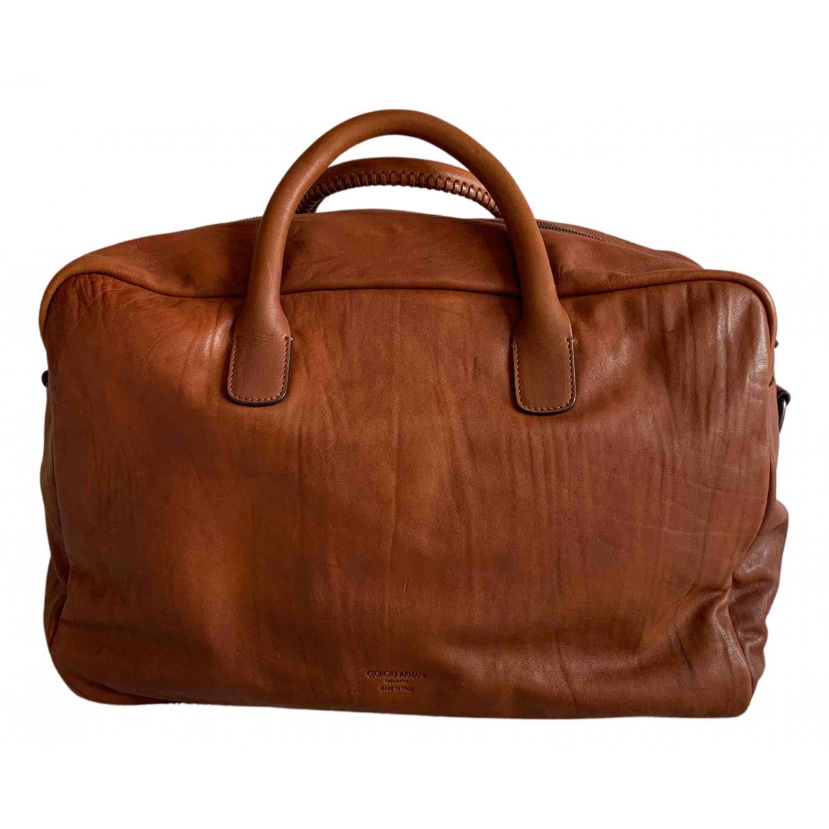 Giorgio Armani - Sac de voyage   pour femme en cuir - marron