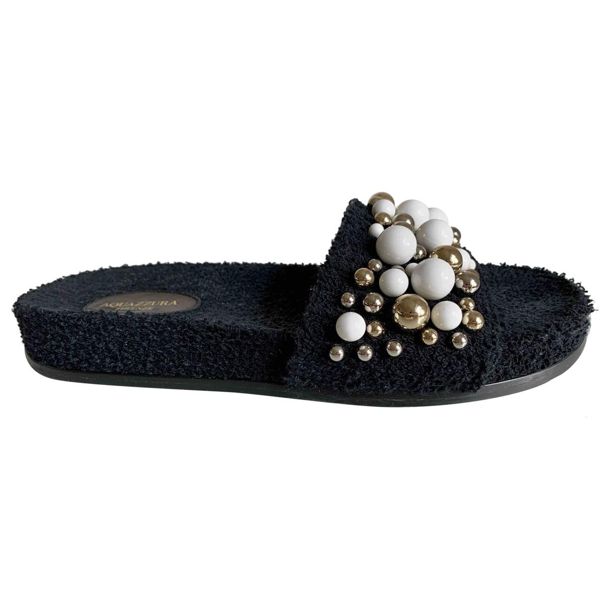 Aquazzura \N Black Cloth Sandals for Women 38.5 EU