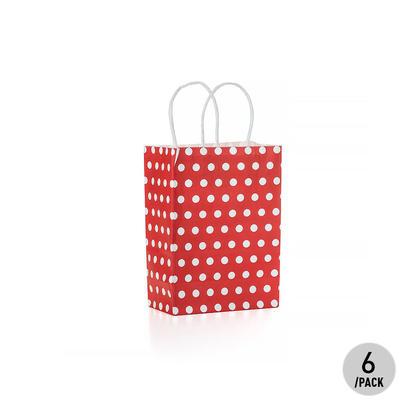 Gift Kraft Paper Polka Dot Bag - Small, Red 6Pcs - LIVINGbasics™