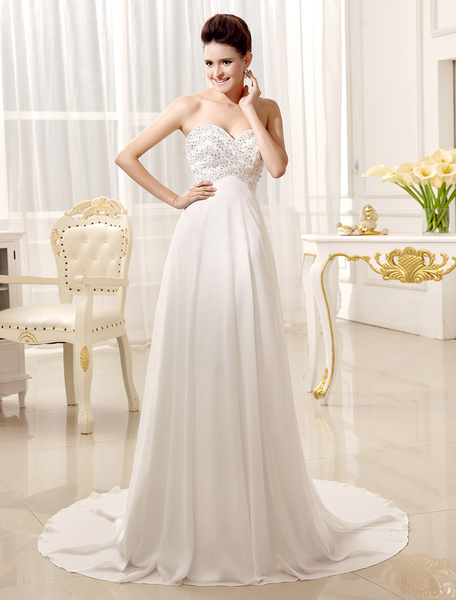 Milanoo Court Train Sweetheart Neck A-line Strapless Ivory Wedding Dress