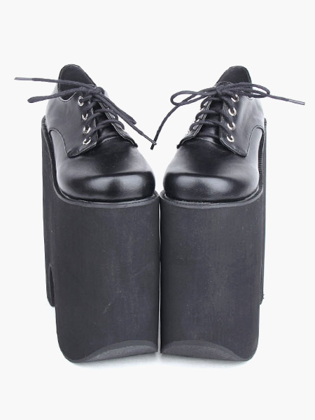 Milanoo Gothic Black Lolita High Platform Shoes Heels With Shoelace