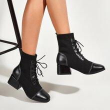 Botas calcetines con tacon con cordon