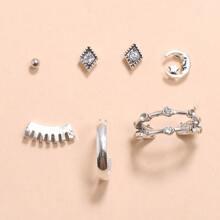 7 Stuecke Ohrringe mit Strass Dekor
