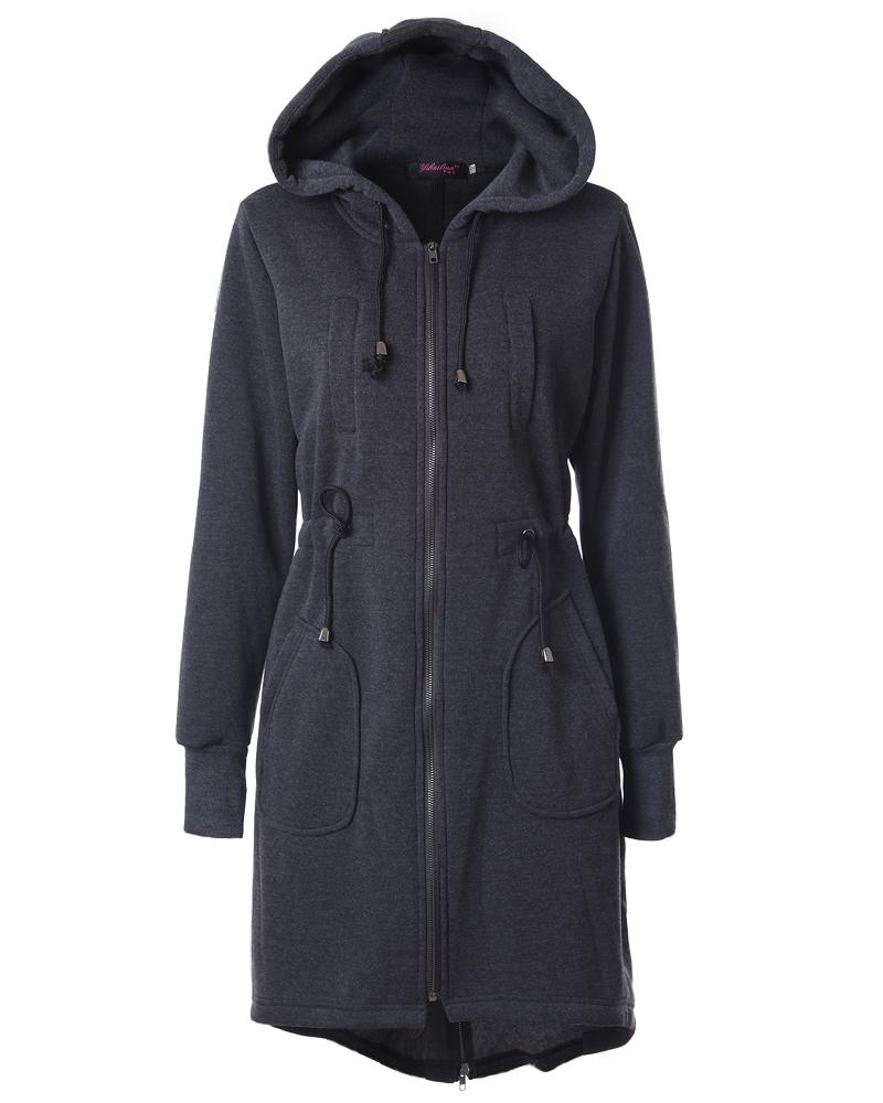 Mid-Length Casual Style Plain Zipper Loose Model Hoodie