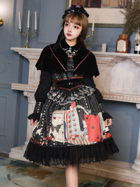 Milanoo Gothic Lolita Outfits Black Lace Up Lace Lace Long Sleeves Cloak Dress