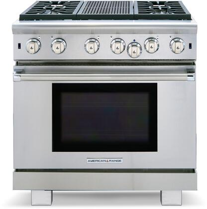 ARR-436GRN 36 Cuisine Series Natural Gas Range with 4 Sealed Burners  Grill  Continuous Commercial-grade Cast Iron Grates  Analog Controls  and 5.3