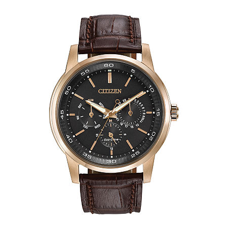 Citizen Eco-Drive Mens Brown Leather Strap Watch BU2013-08E, One Size , No Color Family