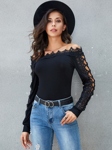 Yoins Black Crochet Lace Off The Shoulder Long Sleeves Tee