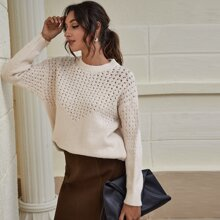Drop Shoulder Perforated Knit Sweater