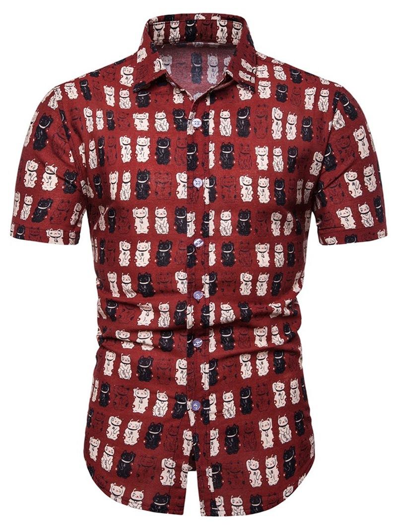 Ericdress Animal Print Casual Summer Mens Single-Breasted Shirt