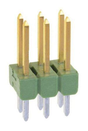 TE Connectivity , AMPMODU MOD II, 6 Way, 2 Row, Straight Pin Header (10)
