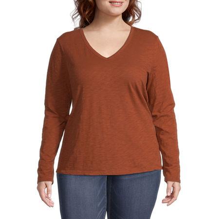 a.n.a Plus-Womens V Neck Long Sleeve T-Shirt, 0x , Brown